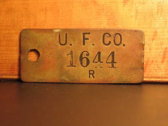 UFCO Brass Inventory Tag 1644