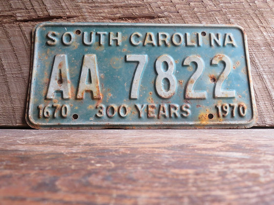 South Carolina TriCentennial License Tag AA 7822