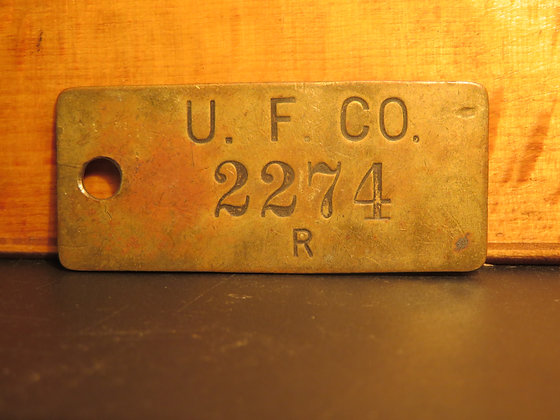 UFCO Brass Inventory Tag  2274