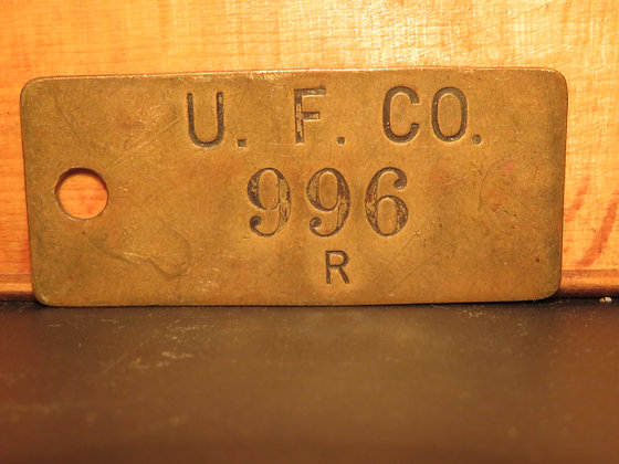 UFCO Brass Inventory Tag 996