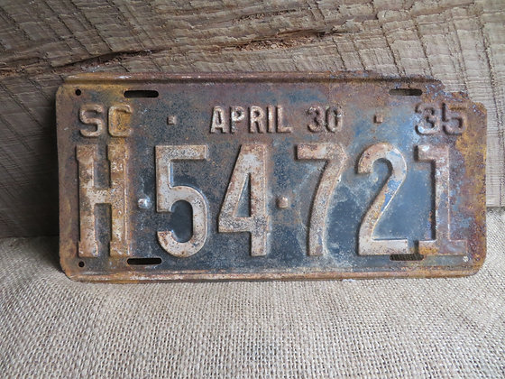 1935 South Carolina License Plate