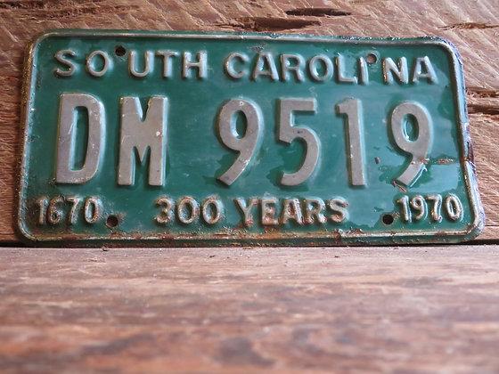 1970 South Carolina TriCentennial License Tag DM 9519