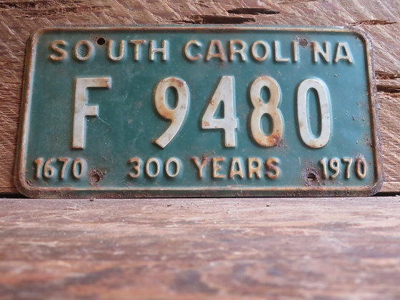 South Carolina TriCentennial License Tag F 9480