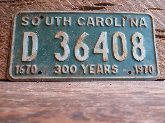 1970 South Carolina TriCentennial License Tag D 36408
