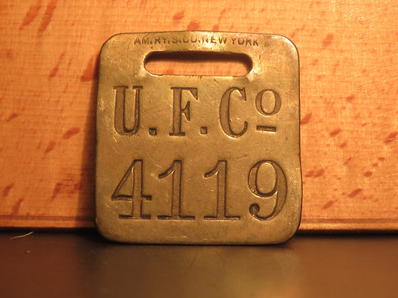 UFCO Brass Luggage Tag F4119