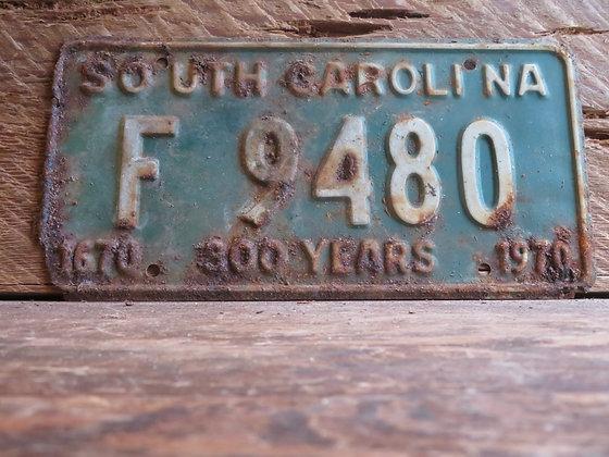 1970 South Carolina TriCentennial License Tag F 9480