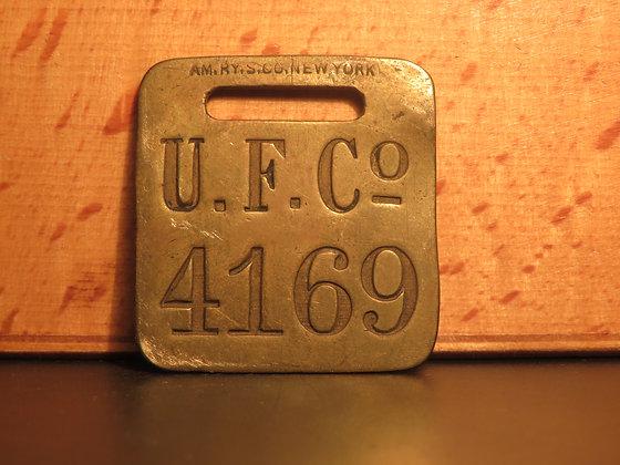 UFCO Brass Luggage Tag F4169