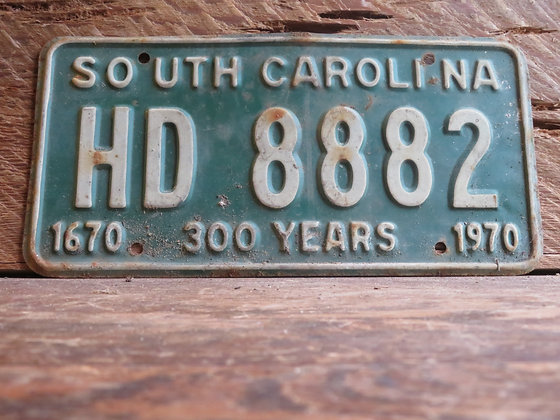 1970 South Carolina TriCentennial License Tag HD 882 (2)