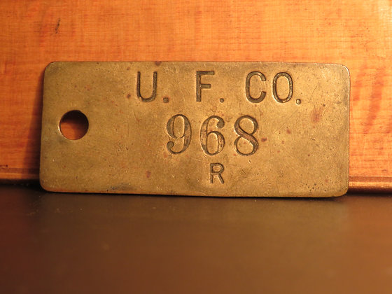 UFCO Brass Inventory Tag 968