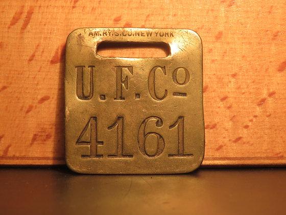UFCO Brass Luggage Tag F4161