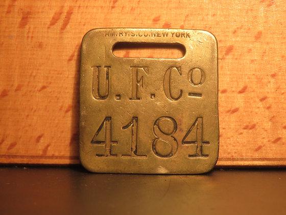 UFCO Brass Luggage Tag F4184