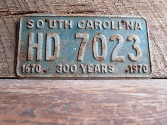 South Carolina TriCentennial License Tag HD 7023