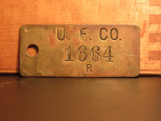 UFCO Brass Inventory Tag 1664
