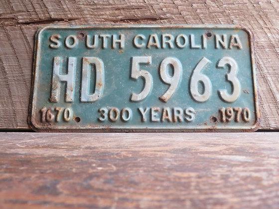 South Carolina TriCentennial License Tag HD 5963