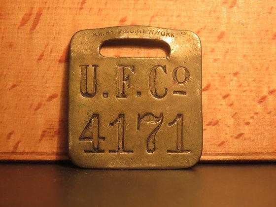 UFCO Brass Luggage Tag F4171