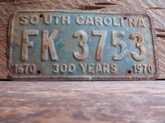 1970 South Carolina TriCentennial License Tag FK 3753