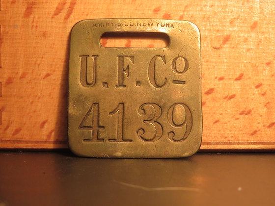 UFCO Brass Luggage Tag F4139