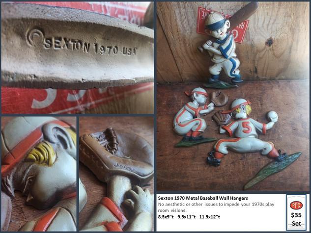 Sexton 1970 Metal Baseball Wall Hangers $35