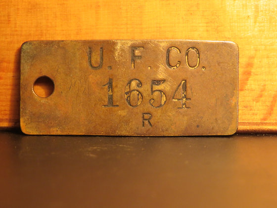 UFCO Brass Inventory Tag 1654