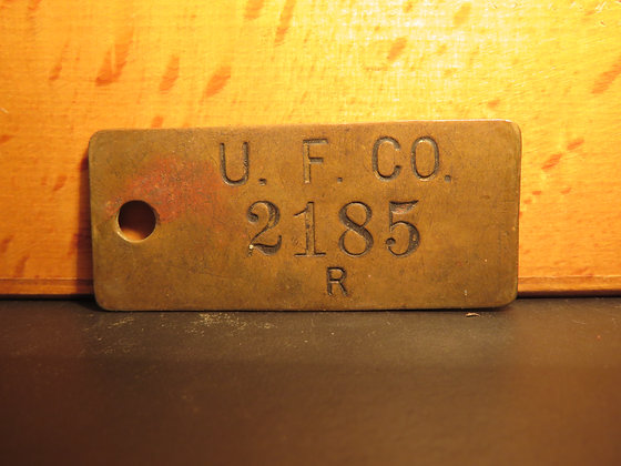 UFCO Brass Inventory Tag 2185