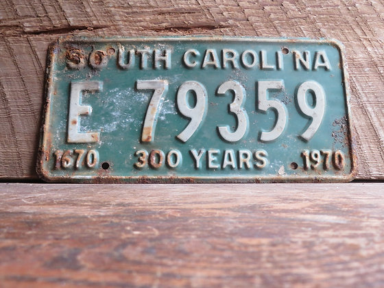 South Carolina TriCentennial License Tag E 79359