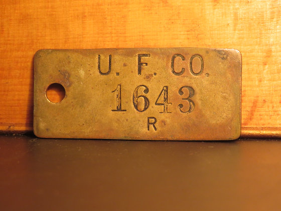 UFCO Brass Inventory Tag 1643