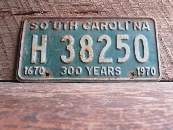 South Carolina TriCentennial License Tag H 38250