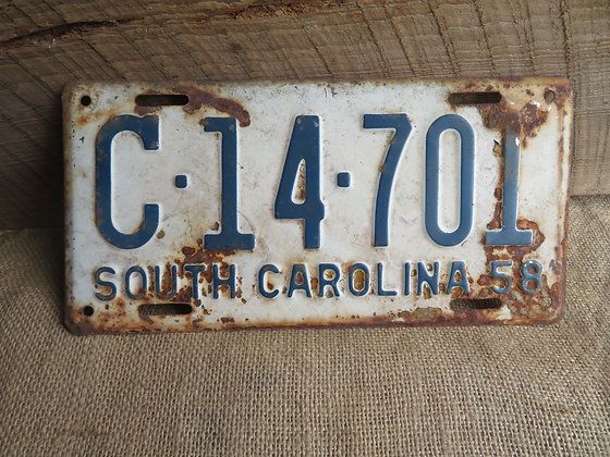 1958 South Carolina License Plate