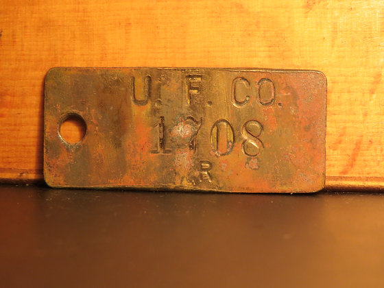UFCO Brass Inventory Tag 1708