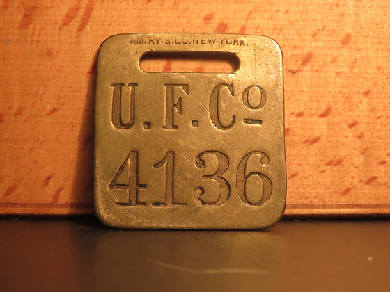 UFCO Brass Luggage Tag F4136