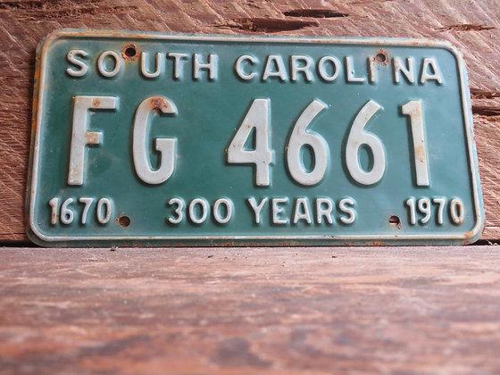 South Carolina TriCentennial License Tag FG 4661