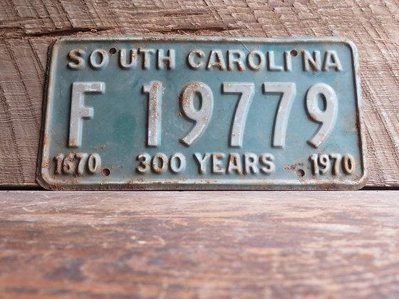 South Carolina TriCentennial License Tag F 19779