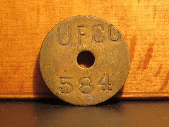 UFCO Round Brass Inventory Tag 584