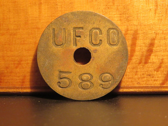 UFCO Round Brass Inventory Tag 589