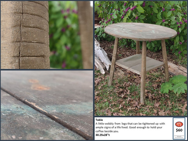Round Top Primitive Table $60