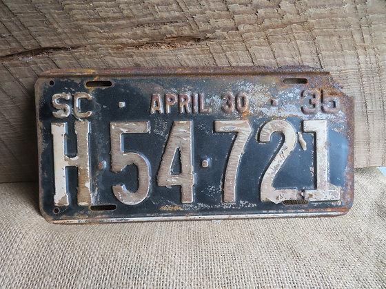 1935 South Carolina License Plate