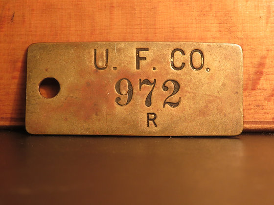 UFCO Brass Inventory Tag 972