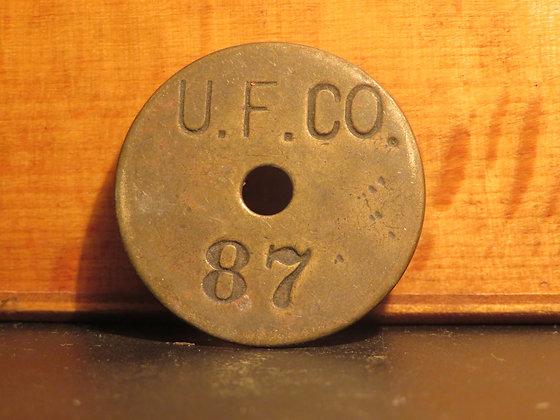 UFCO Round Brass Inventory Tag 87