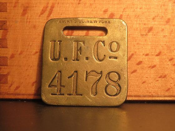 UFCO Brass Luggage Tag F4178