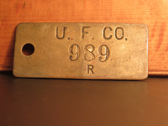 UFCO Brass Inventory Tag 989