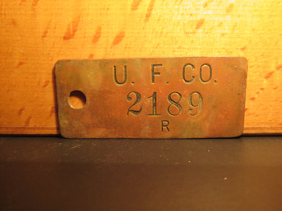UFCO Brass Inventory Tag 2189