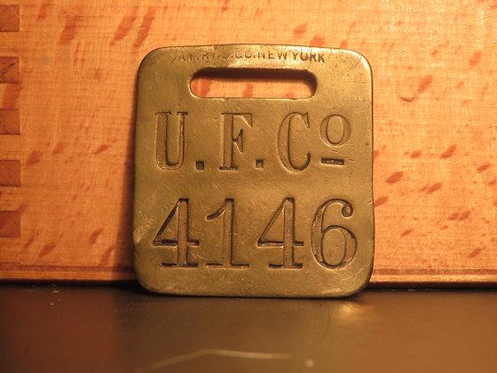 UFCO Brass Luggage Tag F4146