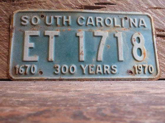 1970 South Carolina TriCentennial License Tag ET 1718