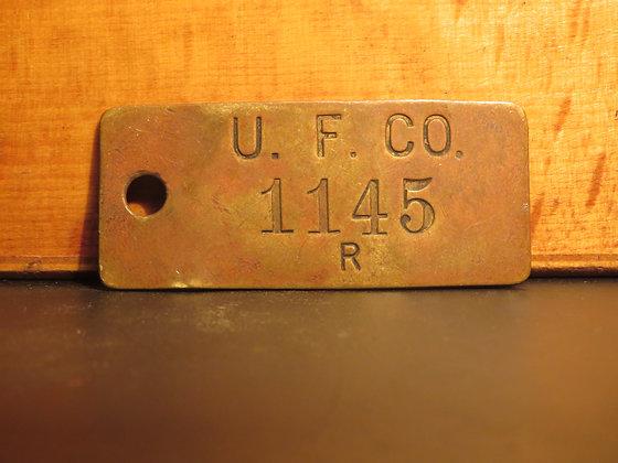 UFCO Brass Inventory Tag E1145