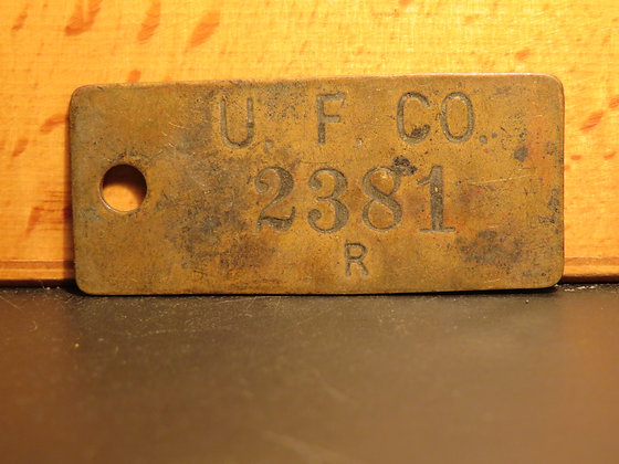 UFCO Brass Inventory Tag 2381