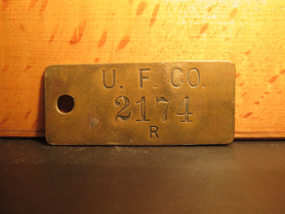 UFCO Brass Inventory Tag 2174