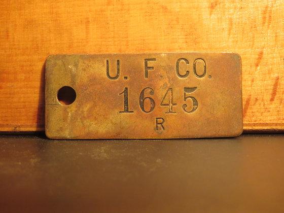 UFCO Brass Inventory Tag E1645