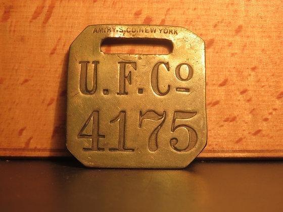 UFCO Brass Luggage Tag F4175