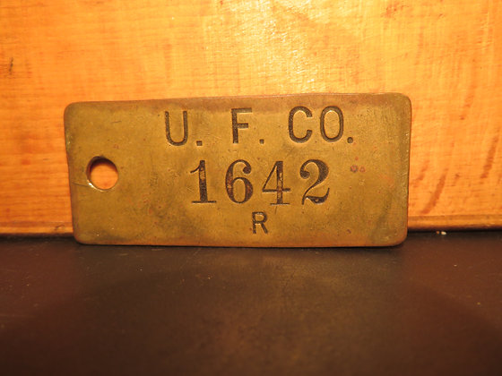 UFCO Brass Inventory Tag 1642