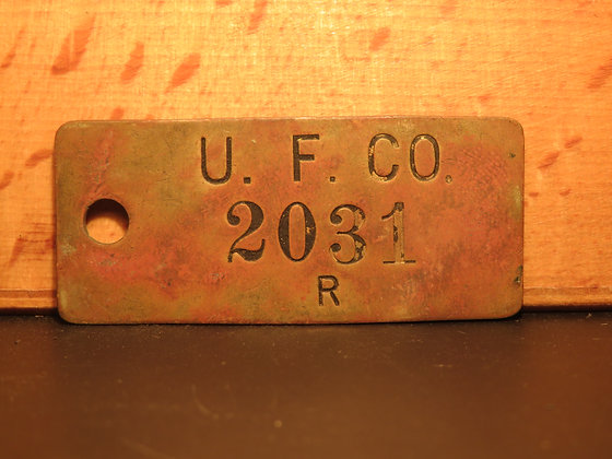 UFCO Brass Inventory Tag  2031